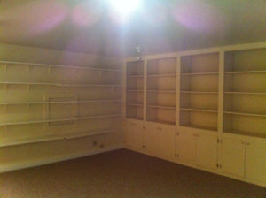 basement bookcase
