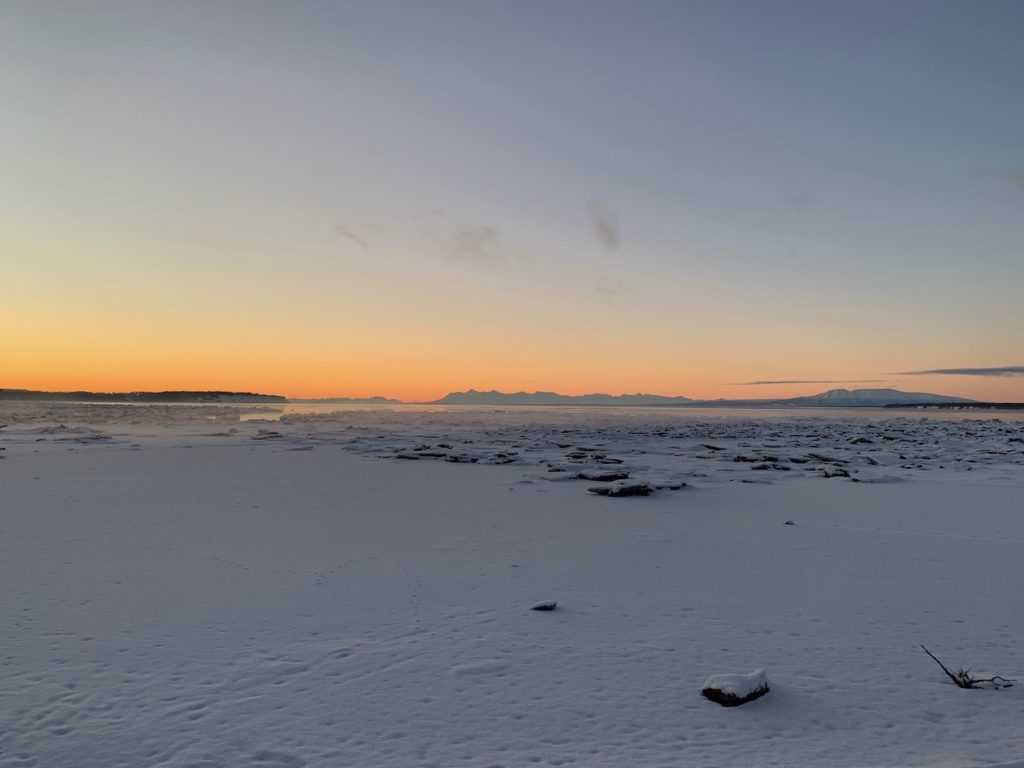 Alaska Range Across the Cook Inlet January sunset