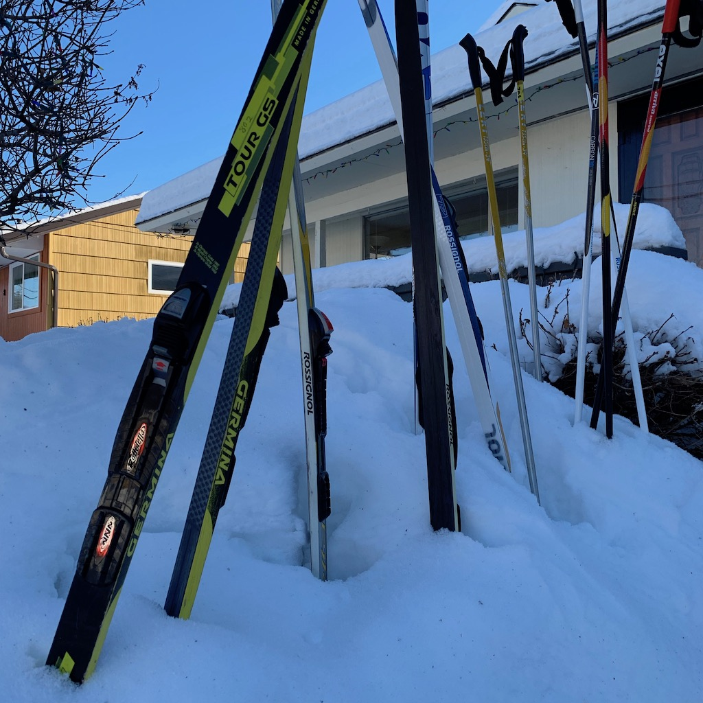 cross country skis in snow