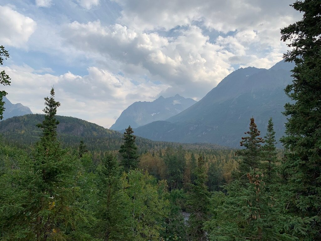 View from the Eagle River Rapids Yurt deck.